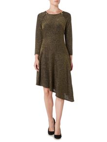 Biba Assymetric metallic stripe jersey dress