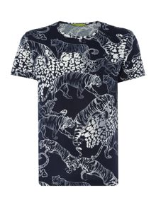 Versace Jeans All over tiger print crew neck t shirt