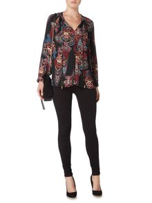 Biba Pleated and printed tie neck blouse