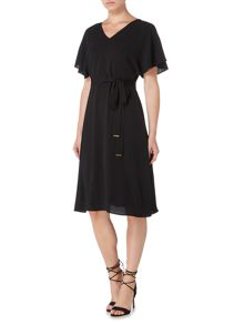 Biba V neck belted split sleeve dress