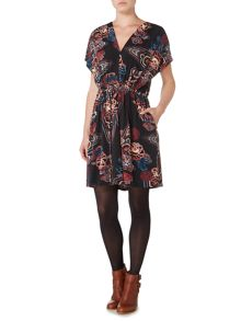 Biba Printed v neck tie waist dress