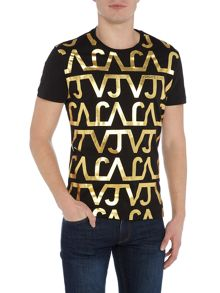 Versace Jeans All over VJ foil print crew neck t shirt