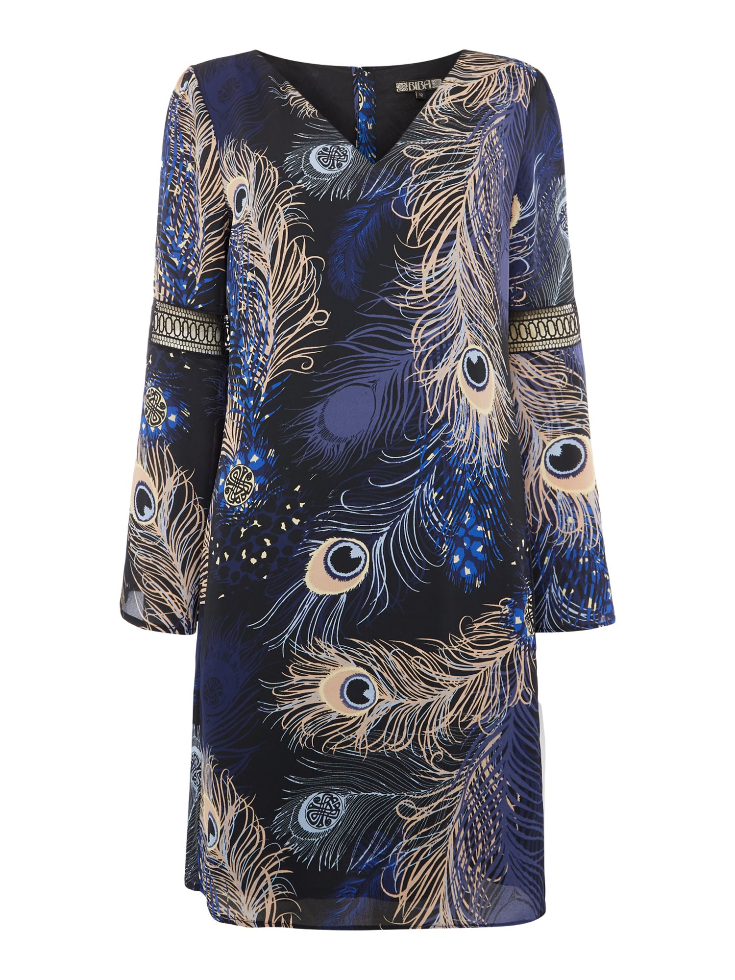 Biba Peacock printed frill sleeve dress, Multi-Coloured
