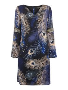 Biba Peacock printed frill sleeve dress