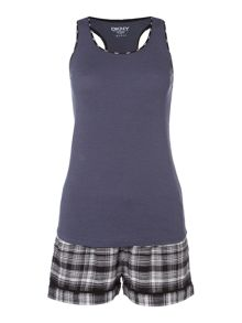 DKNY Plaid town tank, boxer and eye mask set