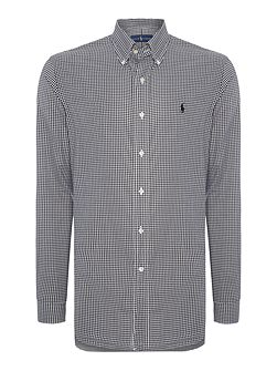 Long sleeve poplin large gingham check shirt