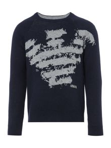 Armani Junior Boys Big Eagle Crew Neck Jumper