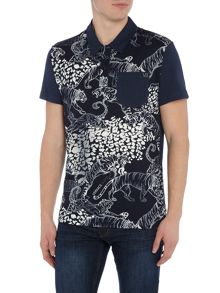 Versace Jeans All over tiger print polo shirt