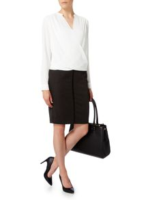 Linea Textured cross over blouse