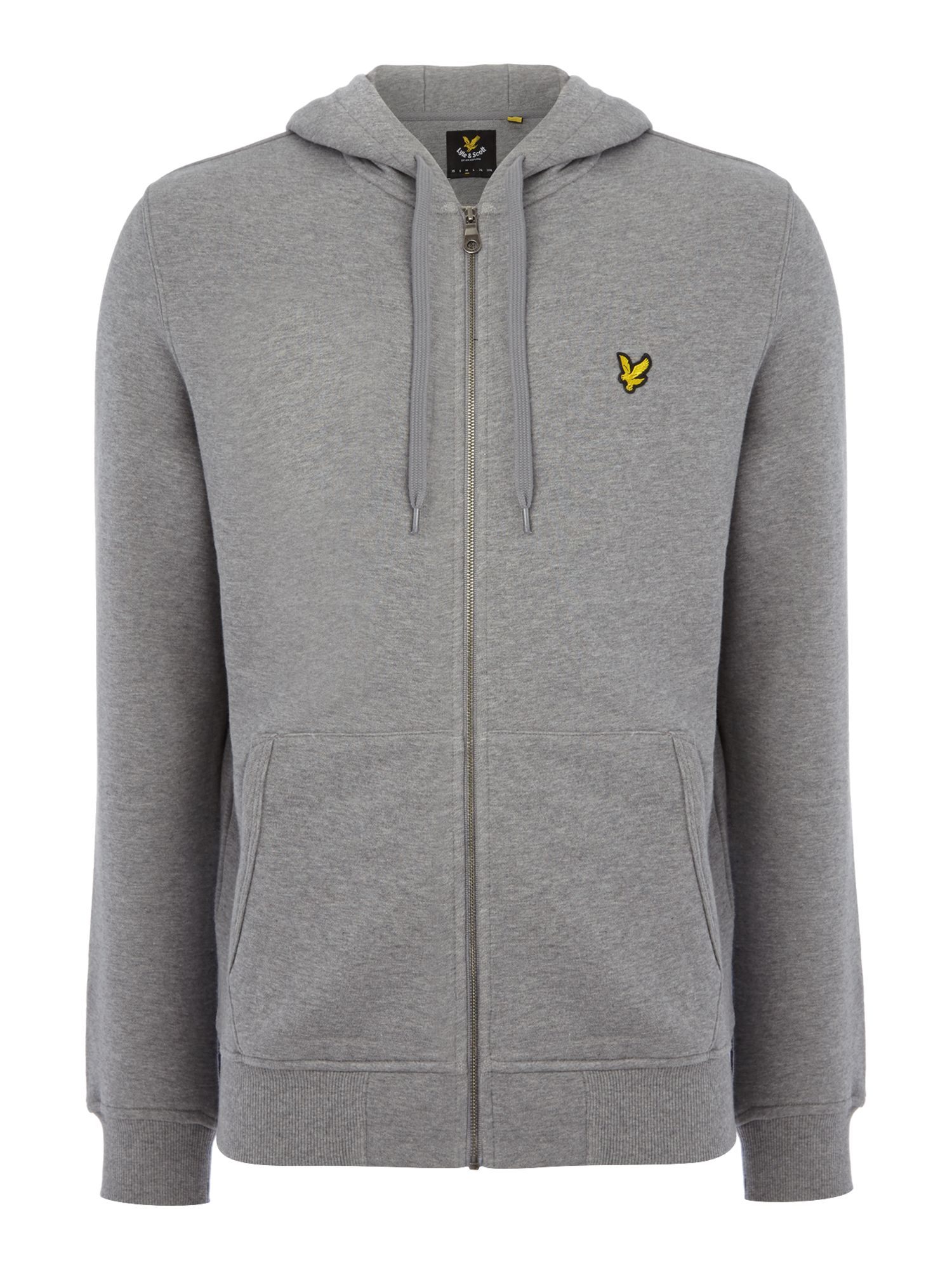 Men's Lyle and Scott Zip Through Hooded Sweatshirt, Mid Grey Marl