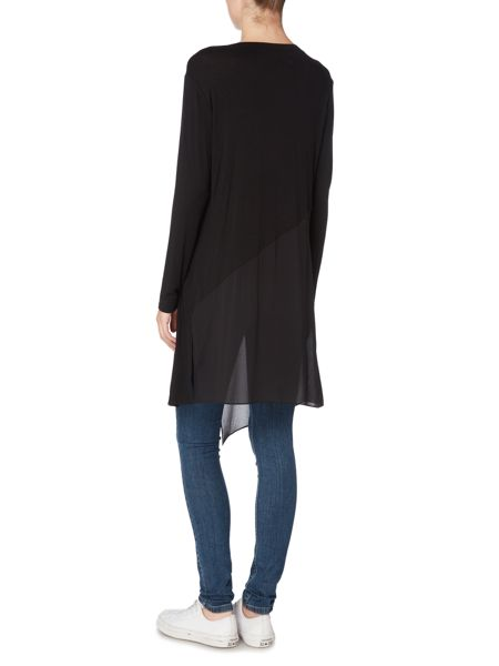 Label Lab Long sleeve asymmetric chiffon mix top