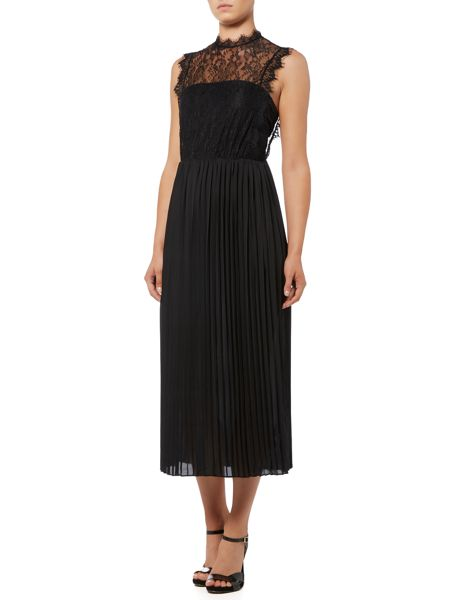 Lost Ink Sleeveless High Neck Lace Detail Maxi Dress