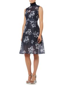 Lost Ink Sleeveless Floral Fit and Flare Dress