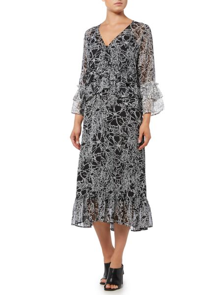 Lost Ink Long Sleeved V Neck Floral Dress