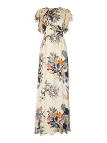 Lost Ink Short Sleeved Ruffle Sleeve Floral Maxi Dress