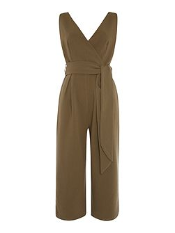 Sleeveless Deep V Tie Waist Jumpsuit Dress
