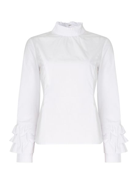 Lost Ink Long Sleeved Ruffle Neck and Sleeve Top