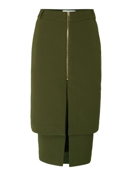 Lost Ink Zip Front Pencil Layered Skirt