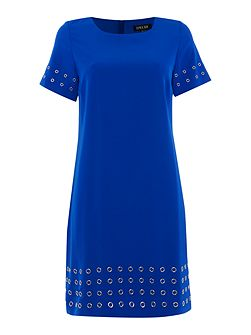 Round neck fit and flare dress with grommet