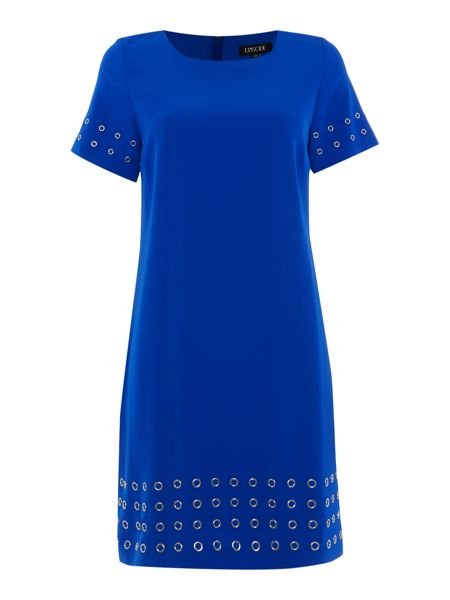 Episode Round neck fit and flare dress with grommet