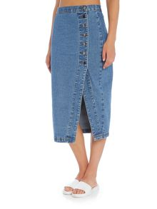 Lost Ink Denim Skirt with Button Side Detail