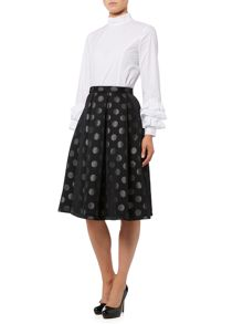Lost Ink Polka Dot High Waisted Skirt
