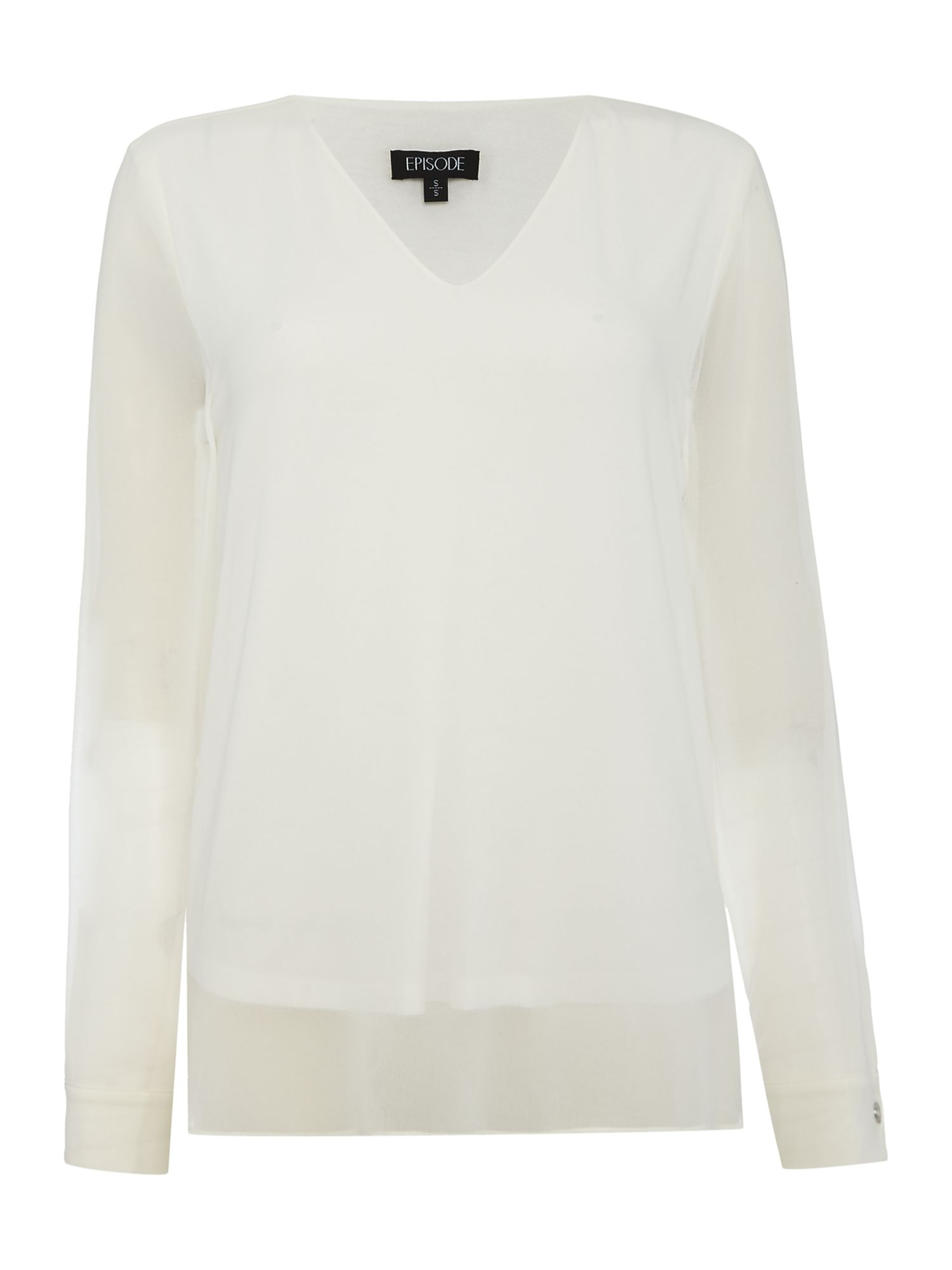 Episode Episode Long sleeve chiffon dipped hem, White