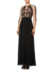 Little Mistress Sleeveless Chiffon Lace Detail Maxi Dress