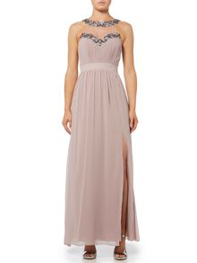 Little Mistress Sleeveless Embellished Neckline Maxi Dress
