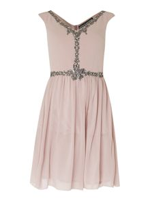 Little Mistress Sleeveless Embellished Fit and Flare Dress