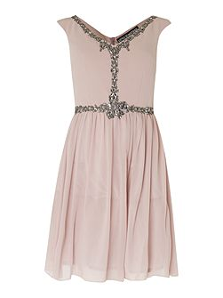 Sleeveless Embellished Fit and Flare Dress