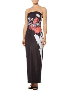 Little Mistress Strapless Printed Maxi Dress