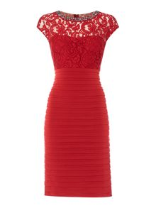 Linea Embellished neck illusion dress