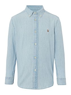Boys Chambray Small Logo Shirt