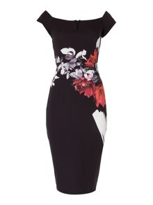 Little Mistress Off Shoulder Printed Midi Bodycon Dress