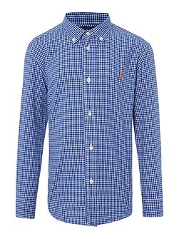 Boys Gingham Small Pony Logo Shirt