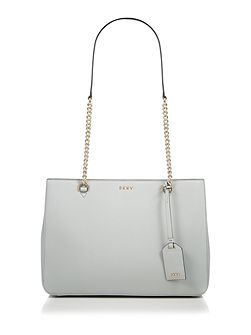 Saffiano light grey chain tote bag