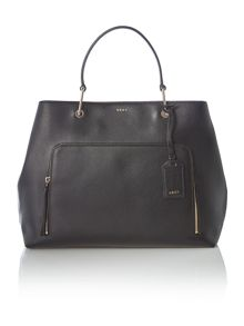 DKNY Saffiano black large pocket tote bag