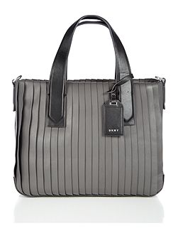 Grey pleated tote cross body bag