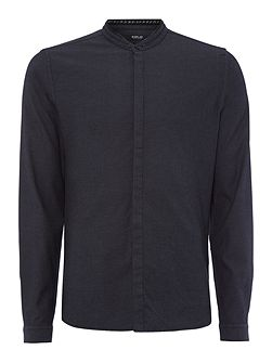 Mandarin-collar jacquard cotton shirt