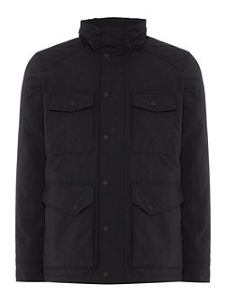 Micro-oxford high-neck jacket