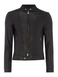 Replay Double-zip leather biker jacket