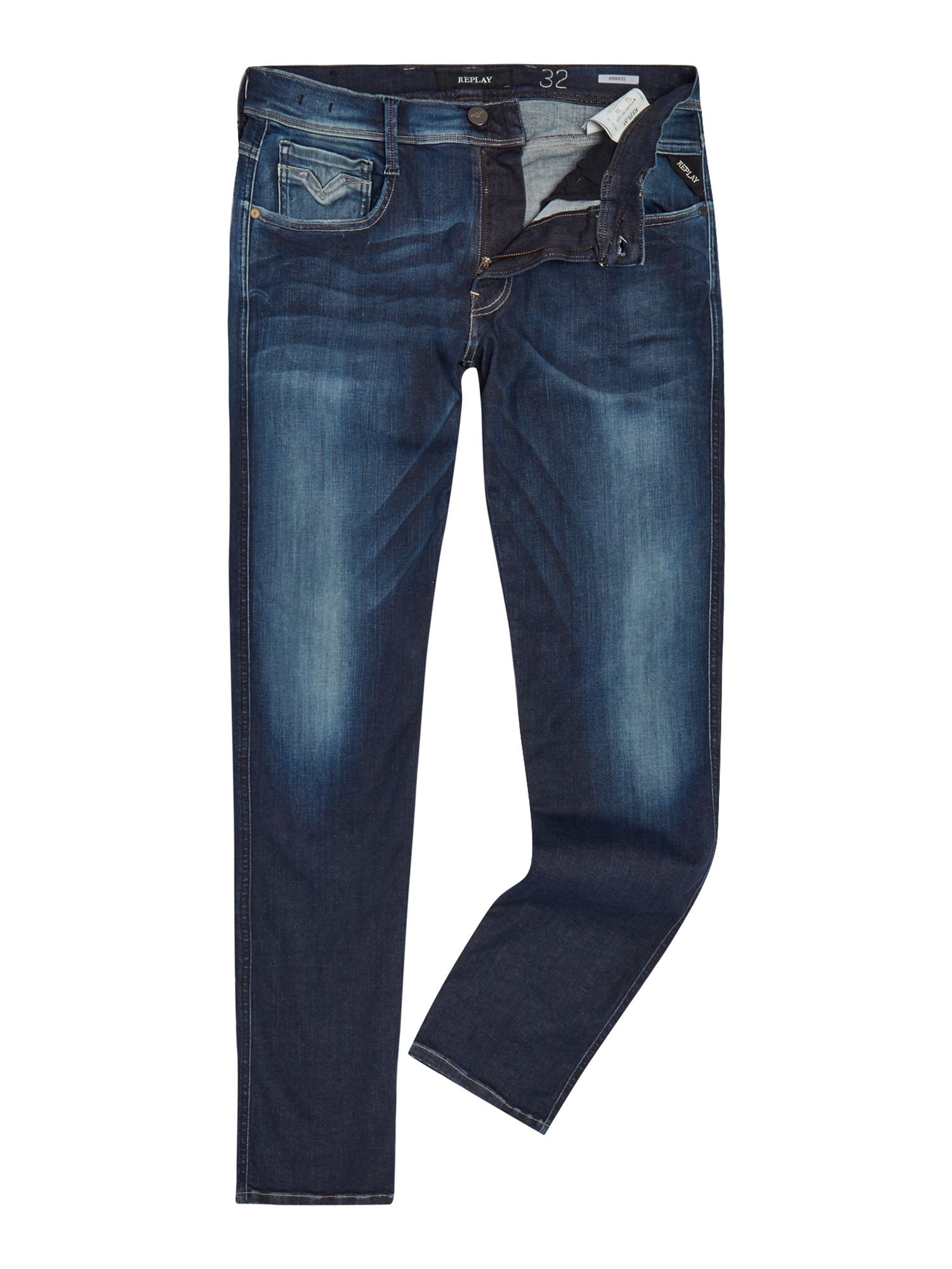 Mens Anbass Slim Fit Jeans, Blue