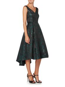 Ariella V neck jacquard fit and flare dress