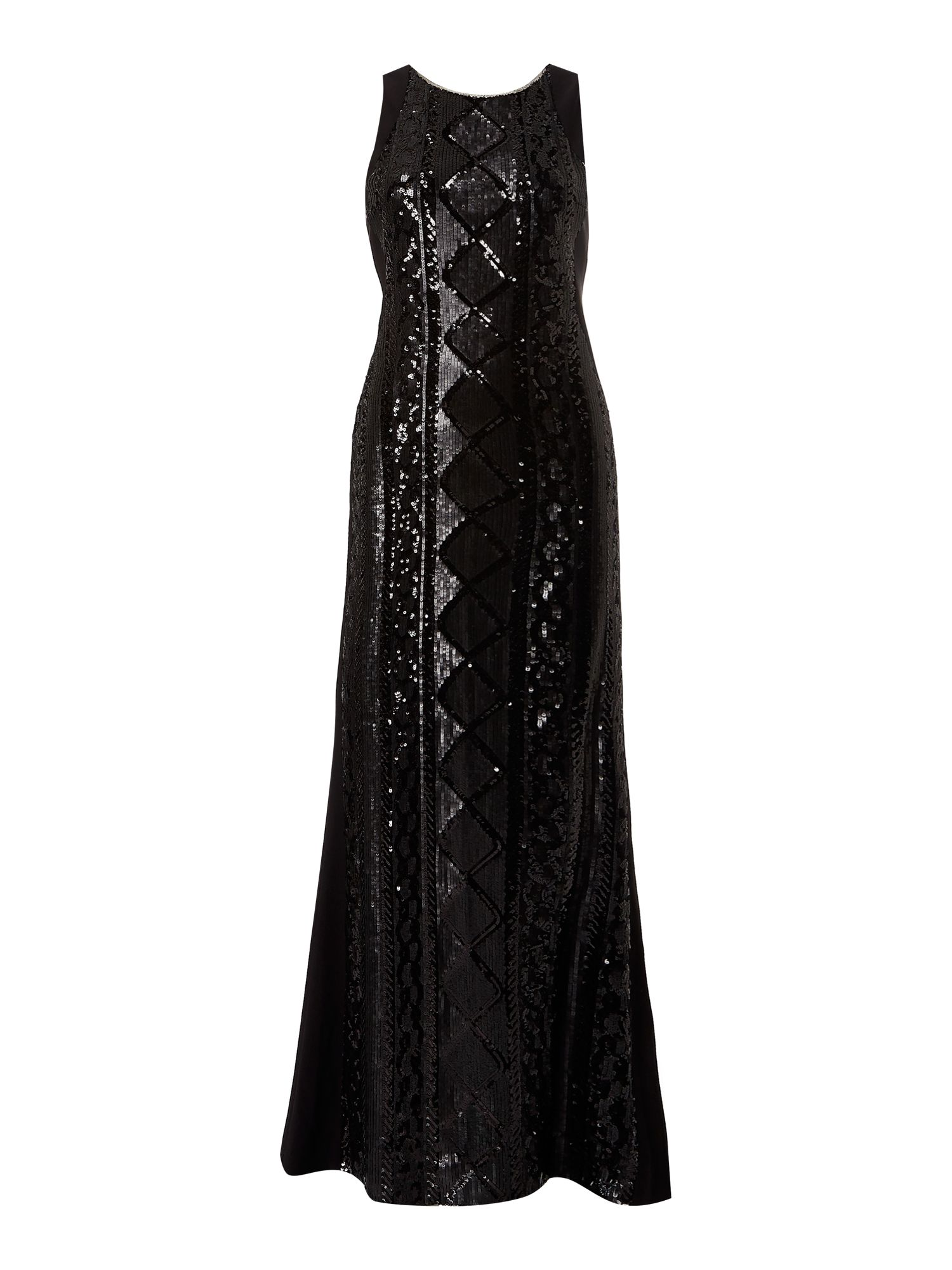 Ariella Sleeveless Beaded Front Gown, Black