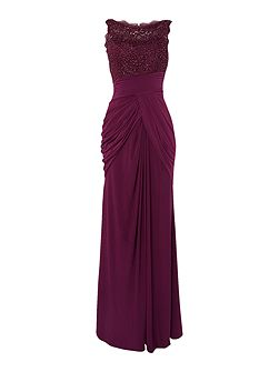 Sleevless Sequin Lace Jersey Gown