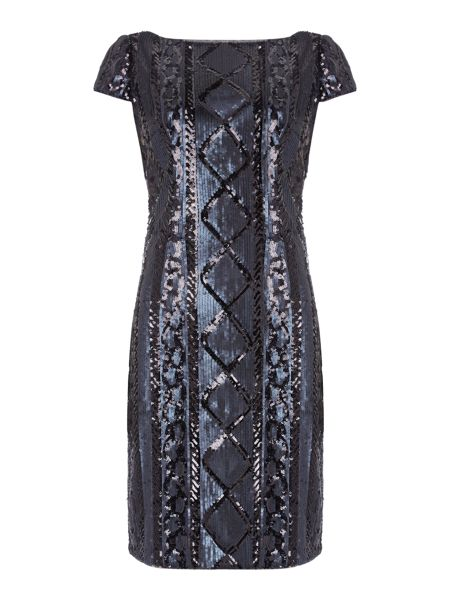 Adrianna Papell Cap Sleeve Beaded Cocktail Dress