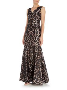 Adrianna Papell Lace Deep V Neck Gown