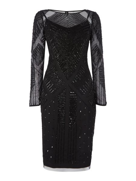 Adrianna Papell Long Sleeve Beaded Cocktail Dress