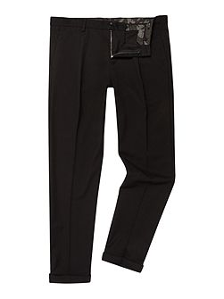 Slim-fit wool blend trousers
